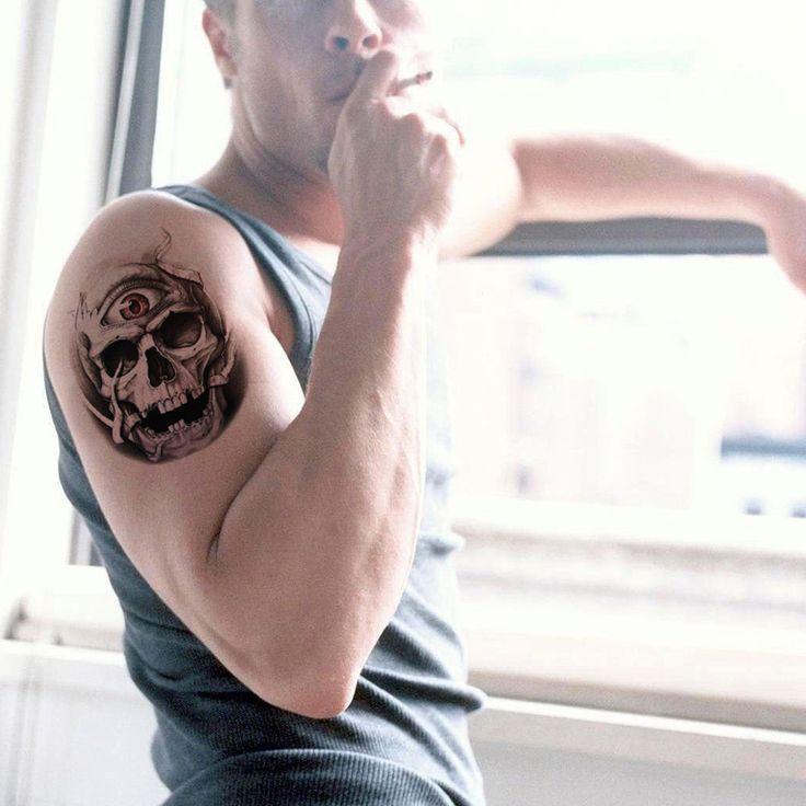 temporary tattoo waterproof sex products body art skull eye men arm tattoo stickers