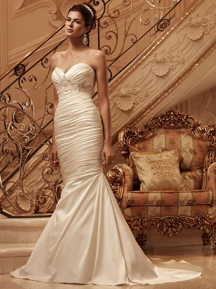 Embellished Strapless Perfecting Satin Gown By Casablanca Bridal 2118