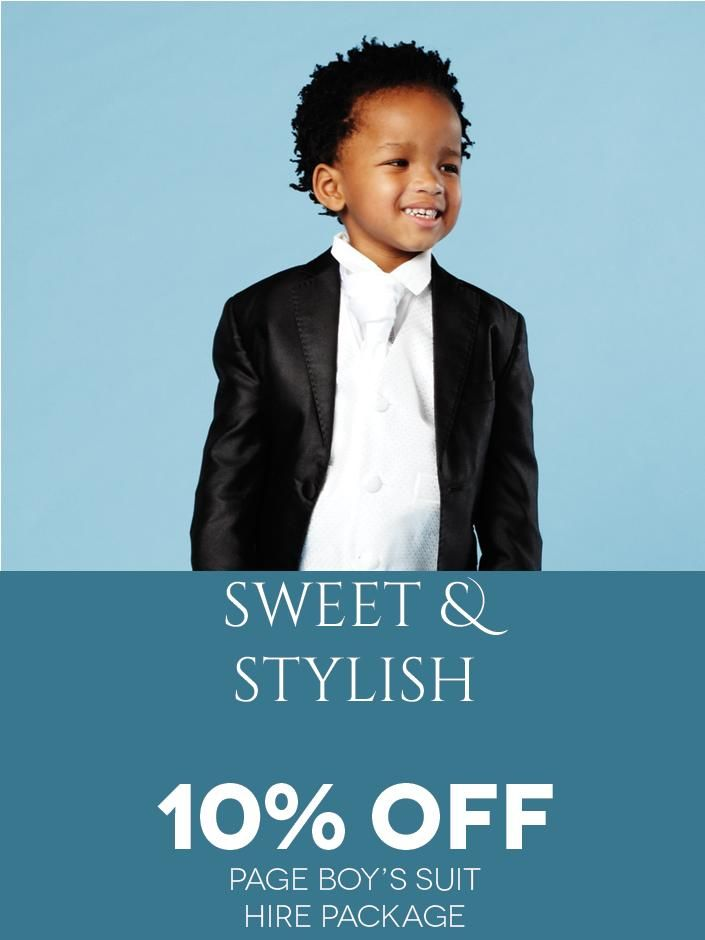 Sweet and Stylish! Get 10% off the page boy's Suit Hire Package from Eurosuit through the Bride&co Rewards Program. Click to View or Find Out More.