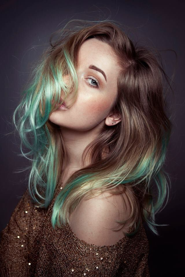 Brown Into Seafoam Green Tips We Love This Haircolor By Cameron Lesiege Green Hair Ombre Colored Hair Tips Hair Inspiration Color