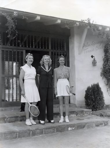 Ilona Massey, Betty Nuthall, and Alice Marble at the Palm Springs Tennis Club