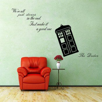 5 24 Doctor Who Tardis We Re Stories Proverb Removable Room Decor Wall