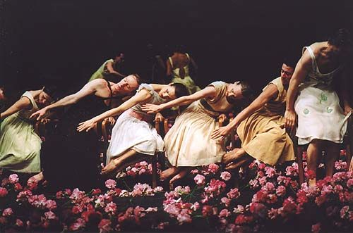 pina bausch & her work Nelken, Carnations, 2005  http://www.ballet.co.uk/gallery/jr_pinabausch_nelken_0205/jr_pinabausch_nelken_tables_500