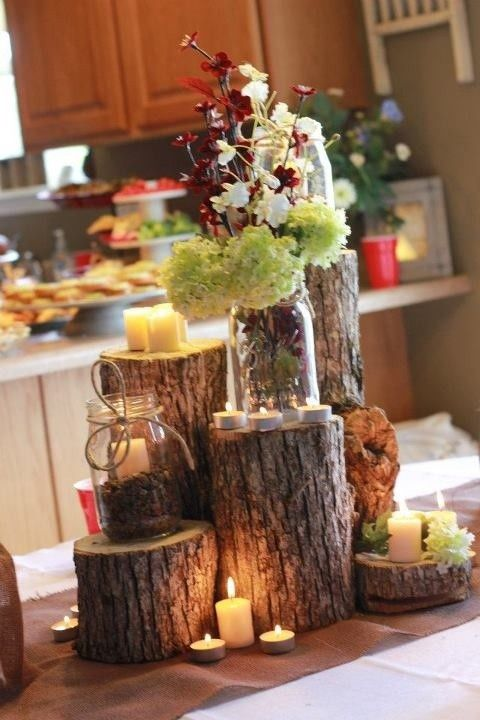 25 best ideas about log centerpieces on pinterest