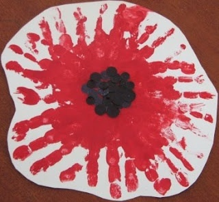 Handprint Poppy idea for Remembrance Day