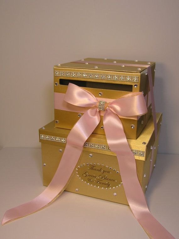 light pink and gold wedding card box gift card box by bwithustudio