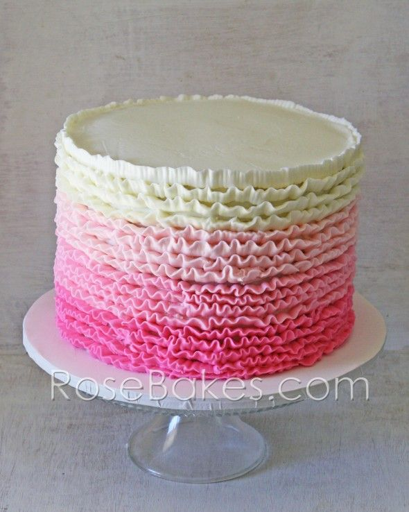Pink Ombre Ruffles Roses 1st Birthday Cakes And Cookies