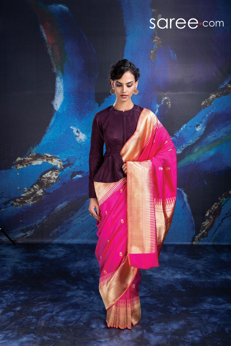 PINK BANARASI SILK SAREE WITH WEAVING WORK