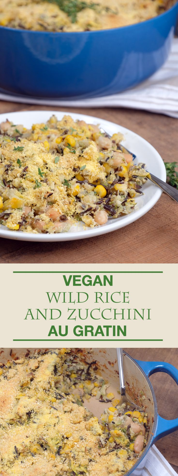 A creamy and comforting au gratin packed with flavorful wild rice and protein rich cashew cheese sauce.  Easy and filling!  Vegan & GF