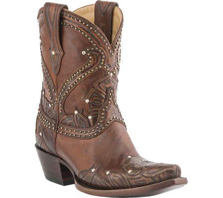 Lucchese Since 1883 M4811.S54 Spring Snip Toe Cowboy Heel Bootie - Tan Tooled Petal - FREE Shipping & Returns | Shoebuy.com: