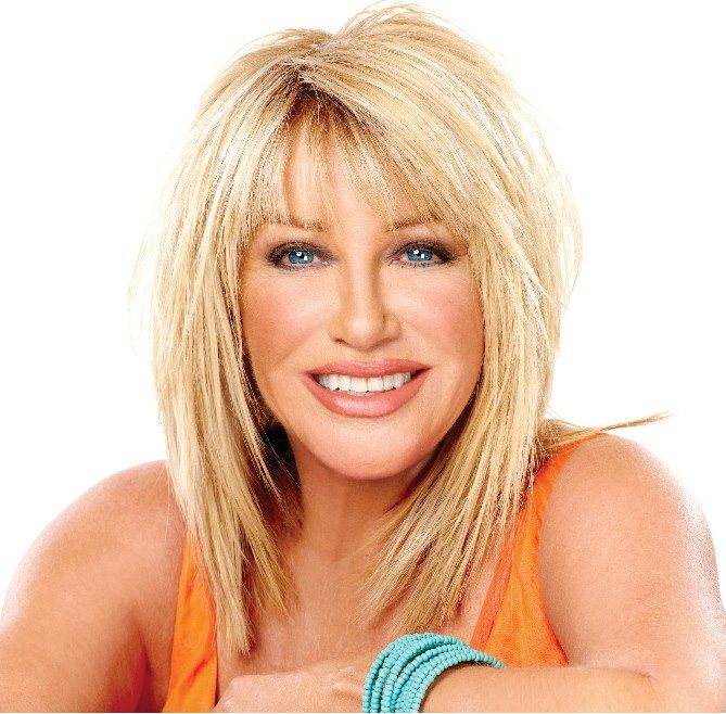 Medium length layers: Suzanne Somers
