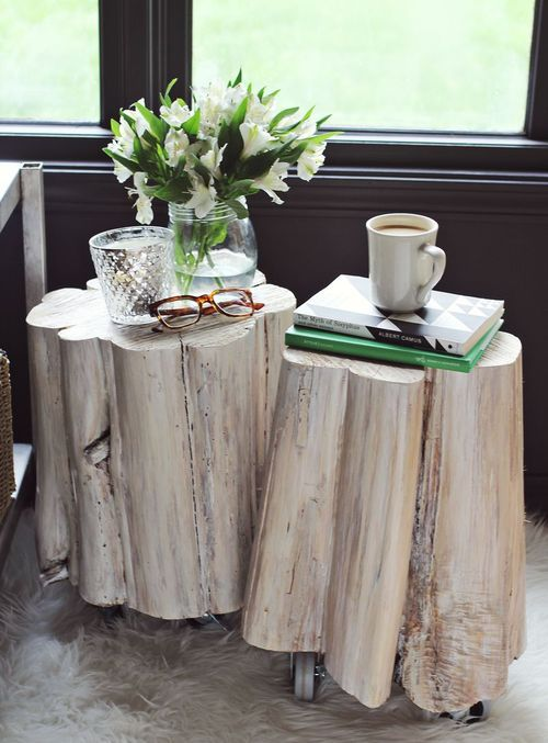 DIY Tree Stump Side Tables - A Beautiful Mess (added wheels are great..these things are heavy to move around)