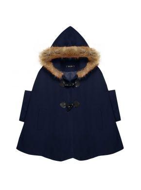 Finejo Koyu Mavi Kadın Modası Gündelik Gevşek Kapşonlu Kısa Batving Kılıf Yün Blend Palto ve Ceket