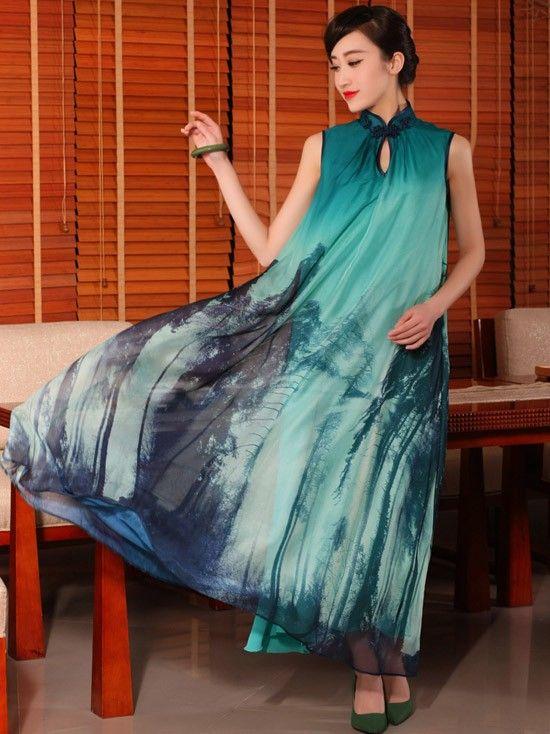 Chiffon Cheongsam / Qipao Dress with Tie Belt