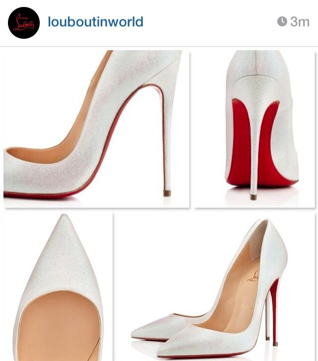 Classic pearly white Christian Louboutin Pigalle pumps | Wedding ...