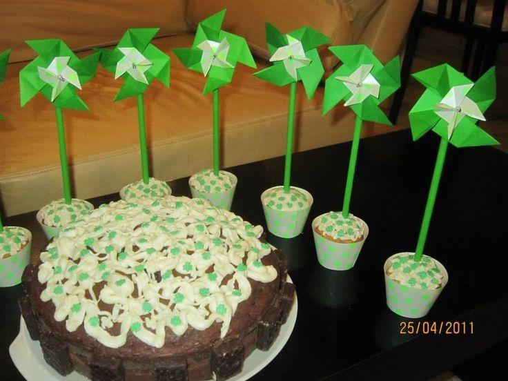 Cupcakes con molino - Origami www.facebook.com/dobleZorigami