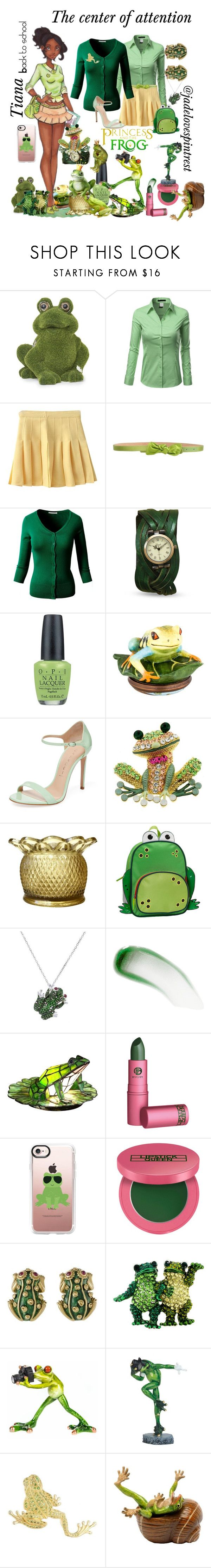 """""""Tiana style: First day of school"""" by jadelovespintrest ❤ liked on Polyvore featuring Doublju, RED Valentino, OPI, Halcyon Days, Casadei, Rockland Luggage, Roberto Coin, Lipstick Queen, Dale Tiffany and Casetify"""
