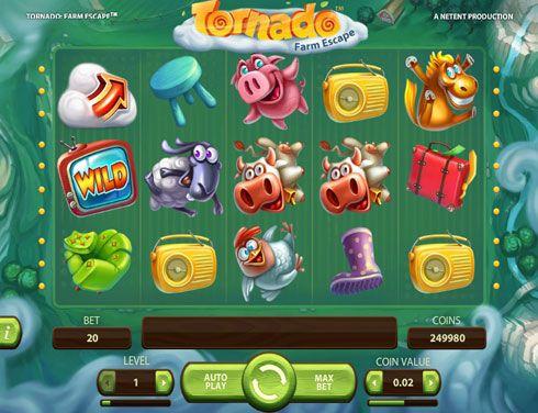Игровой автомат Вулкан Tornado с выводом денег.  Если вам нравится играть на деньги в интересные автоматы, оцените Tornado в казино Вулкан. Вы сможете вывести большие деньги из этого игрового аппарата, если поможете животным сбежать с фермы. Вас ждёт красочная графика,