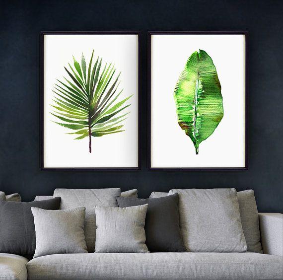 Acuarela de hoja de plátano, Tropical arte, arte botánico de hoja de palmera de…