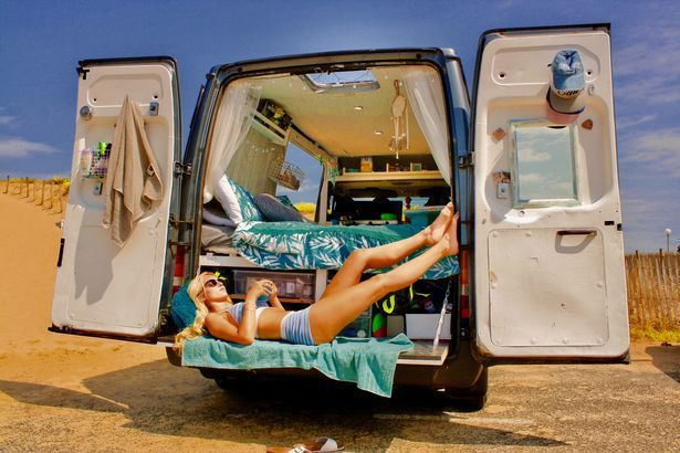 Globe-trotting couple quit jobs and travel world in customised Ford Transit van converted into a dream home │ Aaron Goodfellow, 27, and Sophie Taylor, 24, have been posting stunning snaps along the way as they lounge in the sun, cook dinner on their small stove and enjoy romantic moments by a campfire