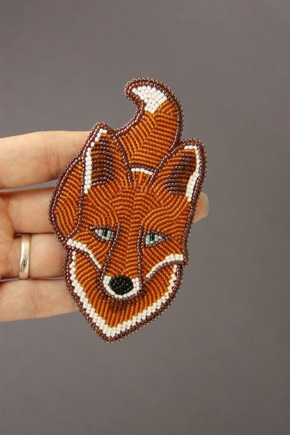 Brooch handmade Beaded Beadwork Embroidered by ArtBeadedHouse