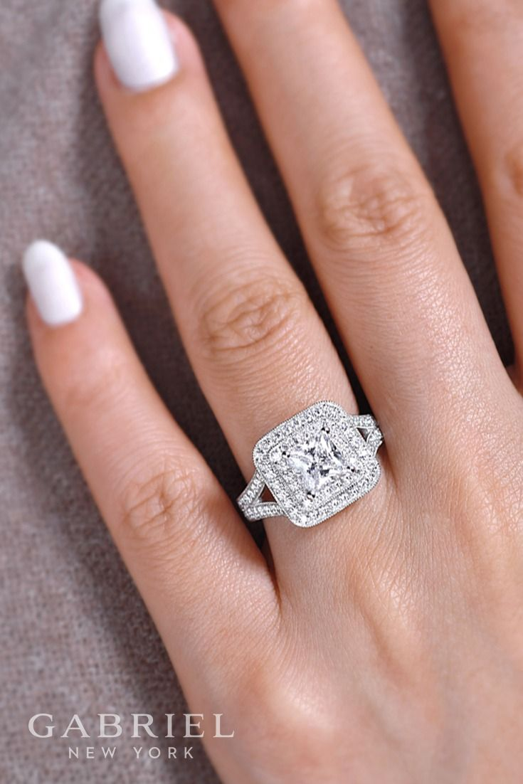 Gabriel - Vintage 14k White Gold Princess Cut Double Halo Engagement Ring. A diamond adorned split shank band meets a princess cut double halo in this spellbinding white gold engagement ring.This gorgeous diamond ring already contains .96 ct. Find more here->