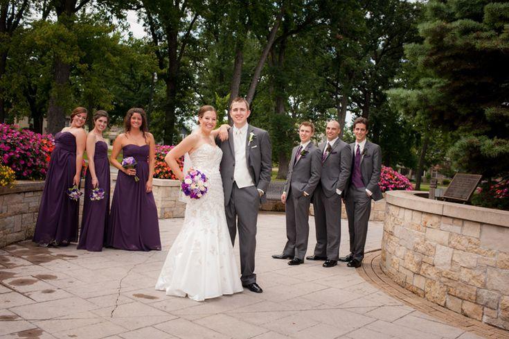 moderntraditional purple and grey wedding groomsmen