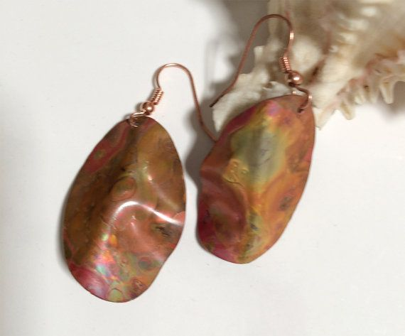 Hand Forged Raku Colored Copper Dangles - great with fall fashions.