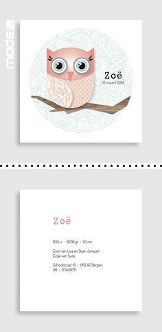 Geboortekaartjes  Geboortekaartje met een schattig uiltje_roze_meisje_zwart_wit_hout_retro_patroon #www.made4.nl