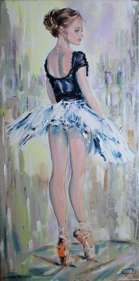 On Pointe  - Original mixed media ballerina painting