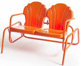 I love these benches!  Parklane Double Glider, Tangerine - modern - outdoor chairs - other metro - by Retro Metal Chairs