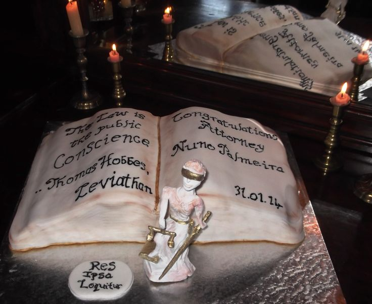 Congratulations for becoming an Attorney, Book cake, with hand crafted clay Statue of Justice