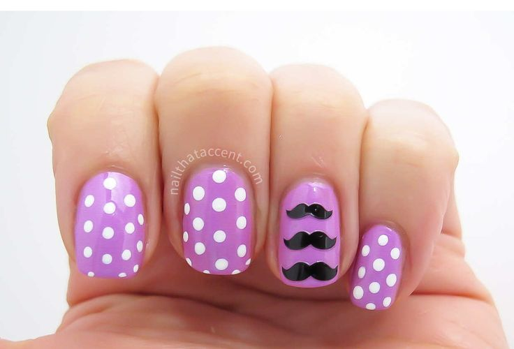 Polka Dot Nail art with Moustache decals