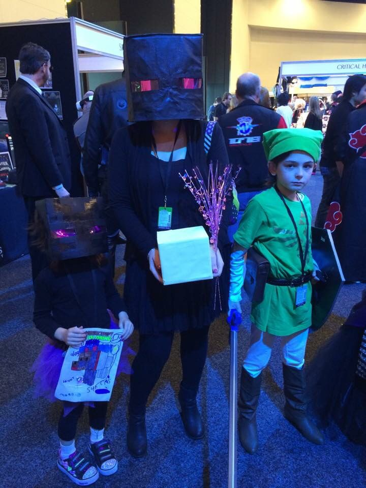 The kids and I cosplaying. Enderman, Endermummy, and Link.