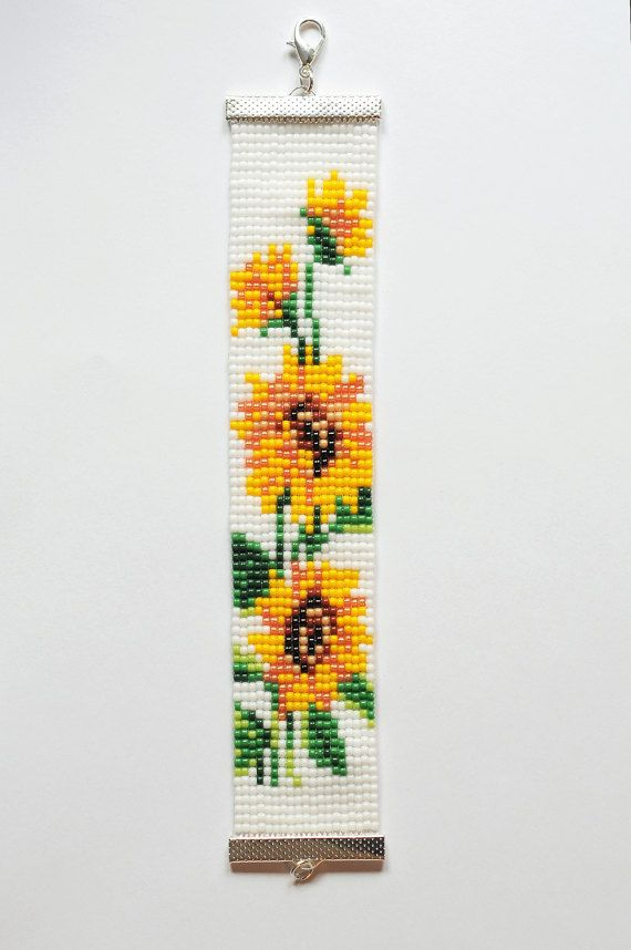 Check out this item in my Etsy shop https://www.etsy.com/listing/508105705/bead-loom-bracelet-sunflower-bracelet