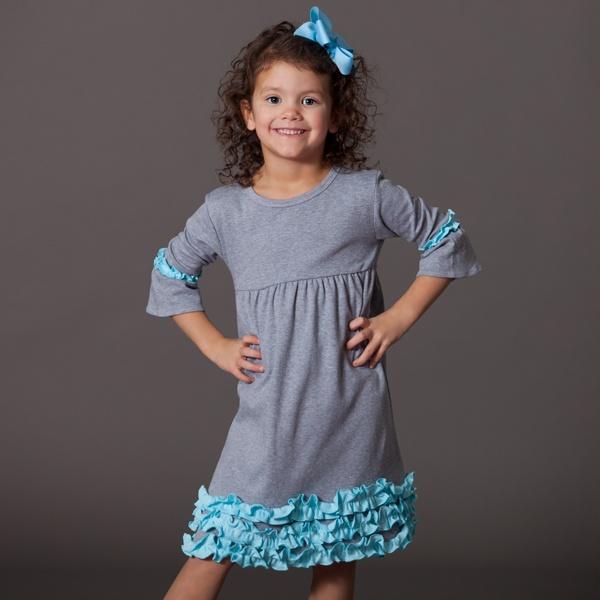 Gray Cotton Aqua Squinchy Cotton Dress 12/27