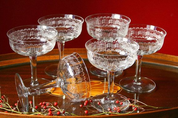 vintage champagne glasses six coupe champagne by cristinasroom, $30.00