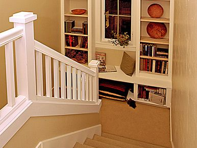 Stair landing - add shelves/built-ins for extra storage and to add interest/decor