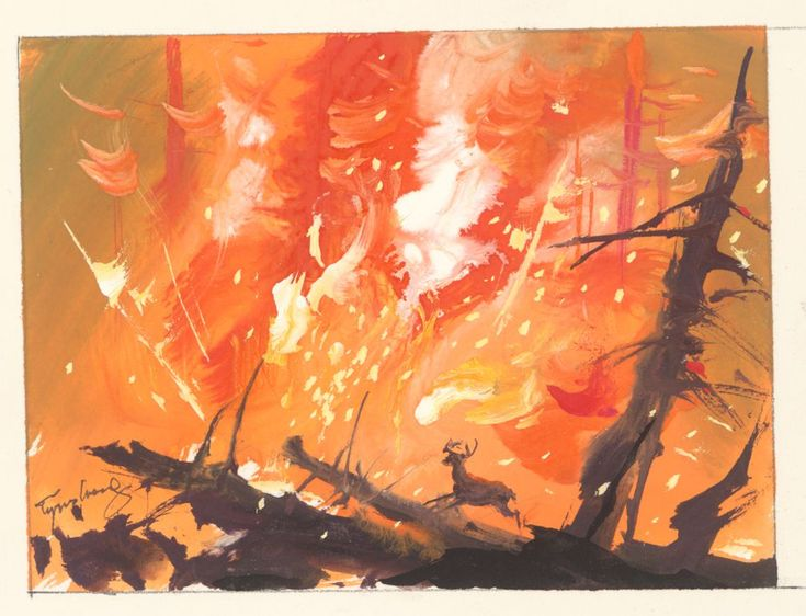 """Painting for """"Bambi"""" by Tyrus Wong"""
