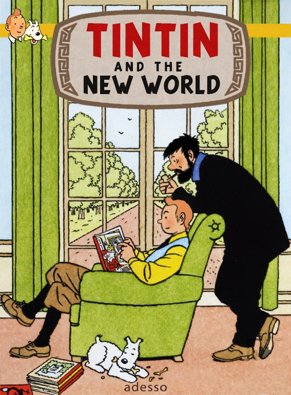 tintin, captain haddock and snowy in an artist's imaginary scene at Marlinspike Hall • Tintin, Herge j'aime