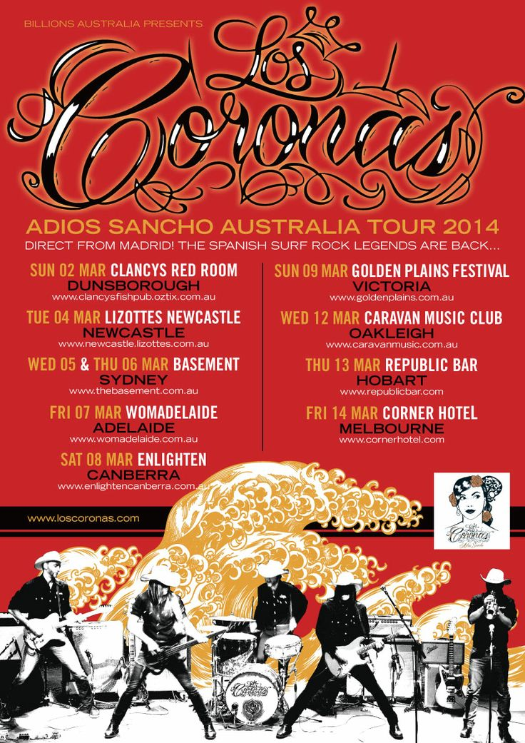 """Los Coronas inician su nuevo tour por Australia y Nueva Zelanda en Marzo de 2014. Regresan a las antípodas para presentar su álbum """"Adiós Sancho"""" y su EP """"El extraño Viaje""""."""