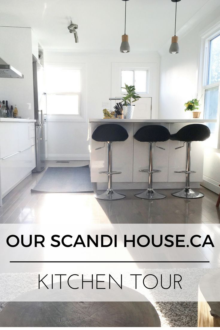 Scandi kitchen tour of a little home renovated in Ottawa Ontario Canada by a young couple. Includes Ikea Ringult Kitchen in Glossy White and Light Grey Hardwood Floors.