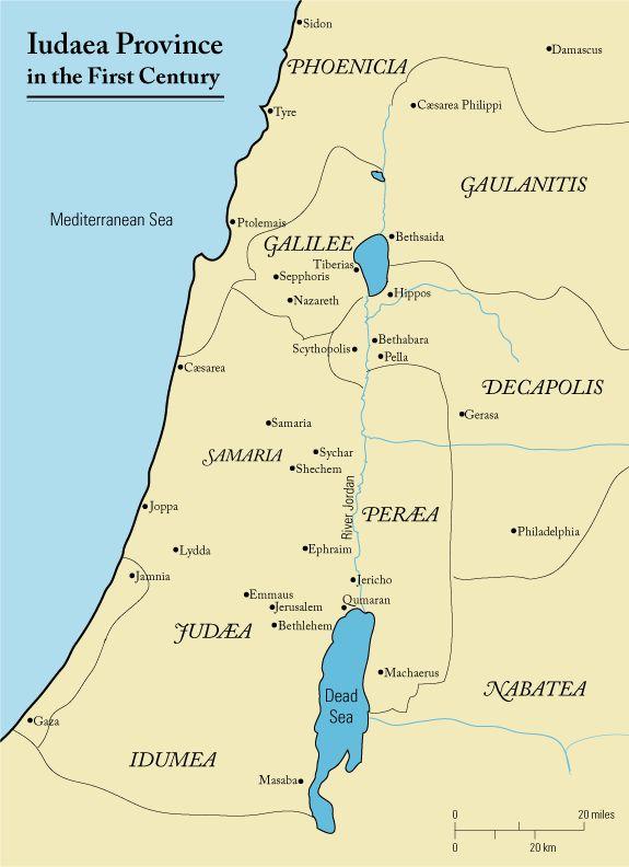 La Galilea (parte nord della cartina) al tempo della prima guerra giudaica (66-70/74).