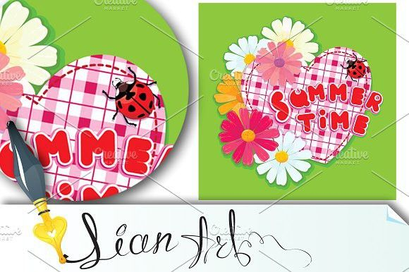 Checkered Heart, ladybird and flower. Wedding Fonts