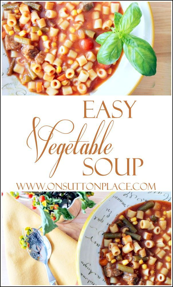 Easy and quick recipe for vegetable soup that takes just a few minutes to put together. Have dinner on the table in less than an hour!.