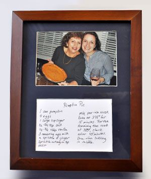 framed recipe.   I want to do this.   The magazine describes doing it as a gift, but I'd want to do it for my own kitchen.   Maybe a pic of my Grandma and her pie crust recipe.    Maybe my mom even has a copy of it in her handwriting....