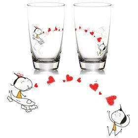 "BoldLoft ""Miss You with All My Heart"" Drinking Glass Set-Romantic Valentine's Day Gifts for Couples,Cute Valentines Gifts for Him or Her,Romantic Anniversary Gifts"