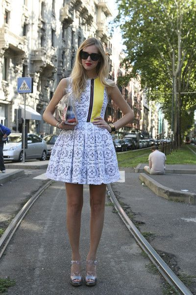 love this girly lace fit n flare dress, plus that detailing!