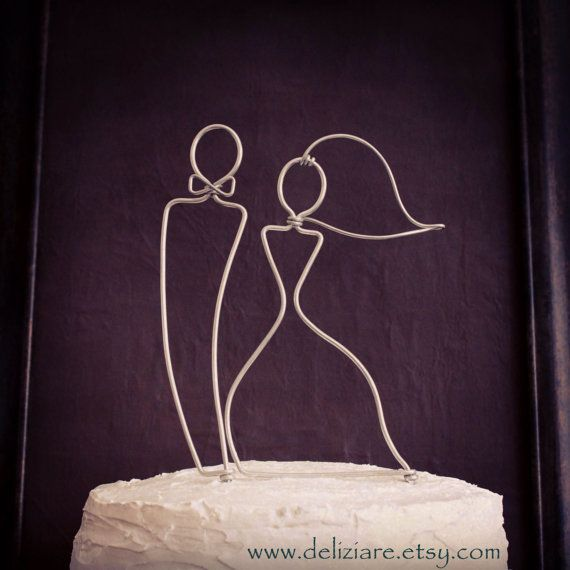 Sleek Silhouette Bride and Groom Wedding Cake Topper by deliziare, $30.00