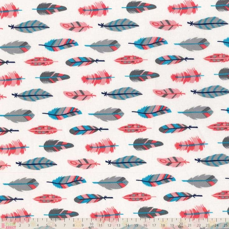 Fabric Name: Feathers On White Manufacturer: Camelot Fabrics Manufacturers Code: 8140606-3 Designer: Allison Cole Collection: What A Gem Themes: feathers Colours: white, pink, grey, blue  This is available to buy from plushaddict.co.uk in fat quarters and by the cut length.  It is 110cm wide (44 inches).